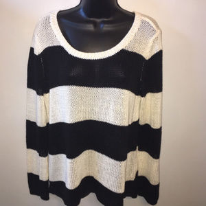 Divided Black White Stripe Slouchy Sweater M
